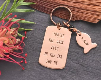 Gift for Him - Copper 7th Anniversary Gift - Hand Stamped Keyring - Anniversary gift for him - 7th Wedding Anniversary