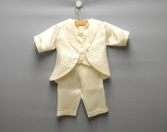 Vintage Baby Clothes, 1950's Ivory Satin Baby Boy Christening Suit Set, Baby Boy Baptism Suit, Vintage Baby Suit, Size 3-6 Months