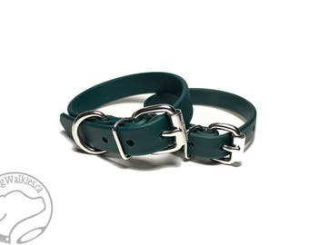 """NEW - Pine Green Dog Collar - 3/4"""" (19mm) Beta Biothane Dog Collar - Your choice of: Stainless Steel or Brass Hardware - Custom Sized"""
