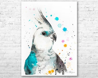 Cockatiel parrot watercolor painting print by Slaveika Aladjova, art, animal, illustration, bird, home decor, Wildlife, Contemporary
