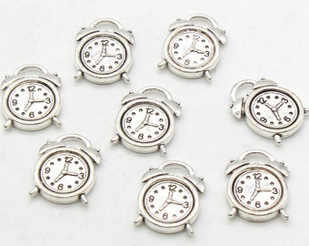 6 Pcs Alarm Clock Charms Antique Silver Tone 13x18mm - YD2094