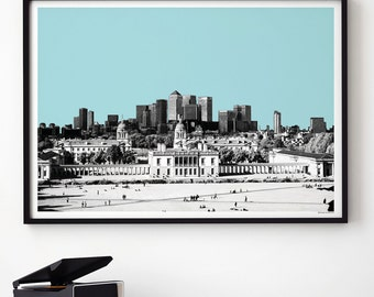 London Skyline - LONDON Print - Travel Print - View from Greenwich - London Gift, Large Wall Art Prints , A3 Prints, A2 Print