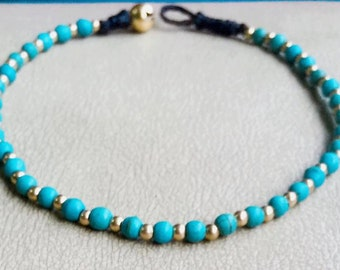 """women chain blue turquoise balls gold brass charm 10"""" anklet from Thailand/summer/holiday/vacation/party/sea/sand/Sun/on beach/Hawaii jewel"""