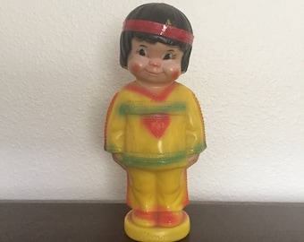 "Vintage ""Kimmie"" Native American Coin Bank - Indian Squaw Plastic Piggy Bank - Regal Made In Canada"