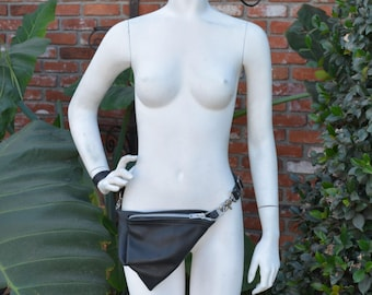 "Black Leather ""Fanny Pack"" FoldOver Small Hip Crossbody Bag"