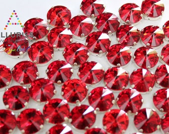 12mm Round, 28pcs Red Crystal,  Fancy Stone & Claw Setting