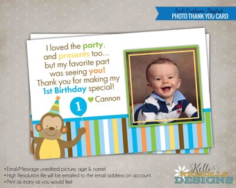 Sweet at One Boy Photo Birthday Thank You Card, Zoo First Birthday Thank You Note #B113-B