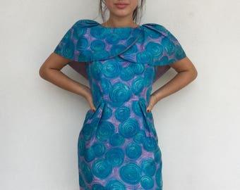 Super cute 60s silk wiggle dress with petal collar detail