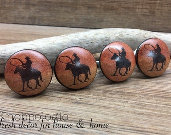 SET OF 4 - Cowboy Silhouette Ceramic Knobs Horse Sunset Red Orange Yellow Western Drawer Pull - Rustic Cowboy Lasso Theme Bull Cabinet Knob