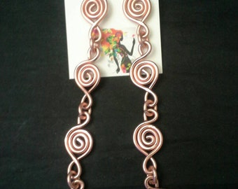 Copper Colored Wire Shoulder Duster Earrings, Afro Earrings, Long Earrings, Dangle Earrings, Wire Art