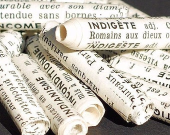 recycled paper beads- vintage French dictionary beads