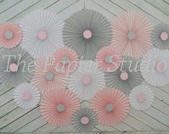Pink and Gray Set of Seventeen (17)  Paper Rosettes, Paper Fans Backdrop