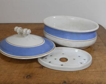 Antique Ironstone Soap Dish - 3 Piece Covered Soap Dish - Royal Ironstone