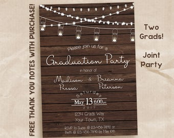 Rustic graduation invitation / graduation party invitation / joint party / two names / friends