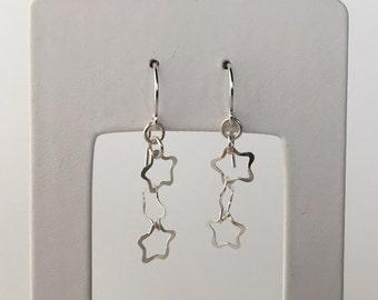 Three Star Earrings, Triple Star Earrings, Silver Star Earrings, 3 Star Silver Earrings