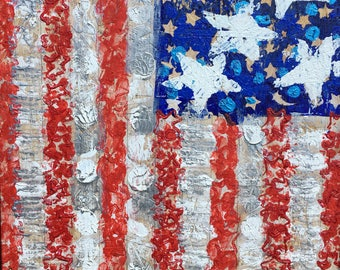 Usa flag painting recycled art