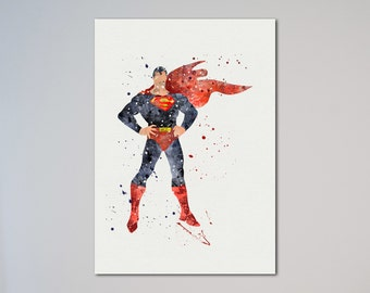 Superman Poster Watercolor Print Wall Decor Fine Art Giclee Print Poster Home Decor Wall Hanging Man of Steel Picture