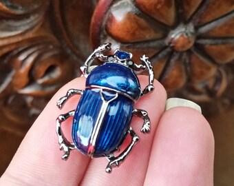 Blue scarab beetle small brooch enamel  hematite tone