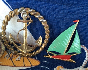 Vintage Metal Ship Anchor and Sail Boat Found Art Objects for Jewelry Making, Crafts or Projects 40s 50s