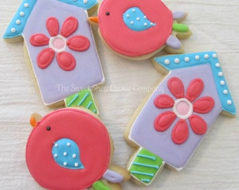 Daisy Birdhouse and Birdie Cookies 2 dozen
