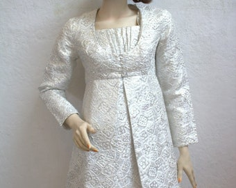 "1960's Silver Metallic Brocade Empire Dress and Matching Coat / Mini Dress and Jacket Set / Size: 32"" Bust"