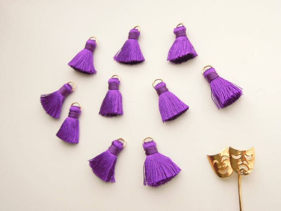 10 Dark purple jewelry tassels - Small purple jewellery tassels - Purple mini tassels - Bracelet tassels, necklace tassels with jump ring