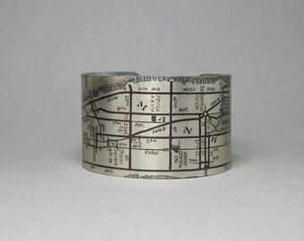 New York City NYC Manhattan Map Cuff Bracelet Unique Travel Gift for Men or Women