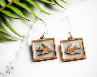 Bird Earrings, Silver Earrings, Modern Bird Earrings, Minimalist Earrings, Laser Cut Earrings, Wood Earrings, Resin Earrings, Boho Earrings