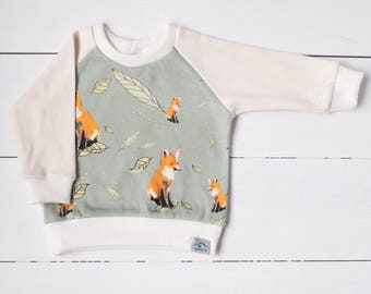 Baby sweatshirt, toddler sweater, organic baby clothes, baby FOX