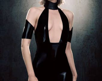 Latex clothing Elektra dress in Black and Translucent Smoky Black with collar Lingerie