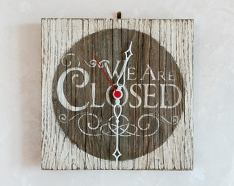 Wall clock handmade with naturally aged wood in shabby chic style (limited edition)