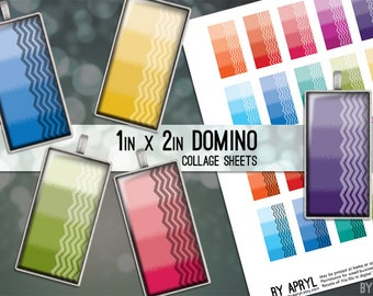 Domino Digital Collage Sheet 1x2 Ombre with Chevron Images for Glass Resin Pendants Bezel Settings Scrapbook Magnets JPG