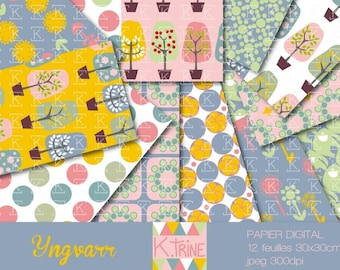 """Digital """"Yngvarr"""" 12 paper sheets to download for scrapbooking"""