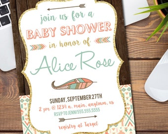 Aztec/Tribal Baby Shower Invitation/Announcement