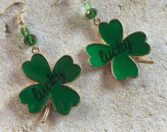 St Patrick's Jewelry, St Patrick's Earrings, Lucky Shamrock Earrings, Green Earrings, Jewelry