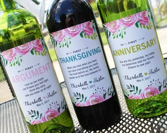 Custom Flower Wedding Milestone Wine Labels // Newlywed Gift // Couples Shower // Year of Firsts // Personalized Wedding Gift