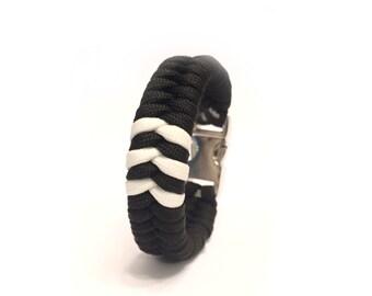 Men's Bracelet Jewelry Yeezy Adidas Inspired Three Stripe Glow in the Dark Custom Fitted Paracord Survival Bracelet Metal Buckle by Tru550