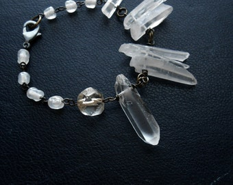 seance - clear ghostly prism rock crystal bracelet - clear white translucent beaded vintage occult bracelet