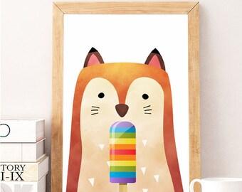 SALE Fox popsicle wall art, Fox Wall Print, Fox Print Art, Woodland Nursery Wall Prints,Woodland Nursery Wall Decor,Forest Animal Wall Print