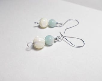 White mother of Pearl stone earrings, amazonite