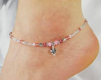Anklet, Ankle Bracelet, Flower Anklet, Pink Anklet, Minimalist Anklet, Minimalist Jewelry, Flower Girl Jewelry, Beaded Anklet, Ankle Jewelry