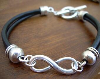 Leather Bracelet, Infinity Bracelet, Toggle Closure, Infinity, Mens Bracelet, Womens Bracelet, Jewelry, Mens, Womens