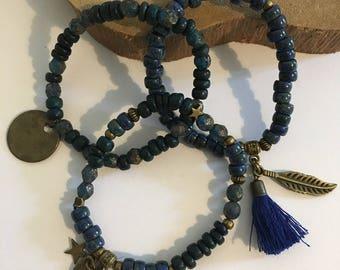 Trio of Bracelets beads 'bronze blue trio'