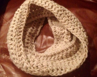 Handmade Crochet Oatmeal Infinity Scarf