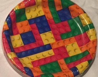 Brick ''Building Blocks'' Dessert Paper Plates 20ct