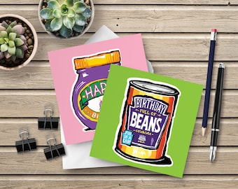 Birthday Full of Beans and Marmite 2 card pack - fun cards inspired by our favourite foods ... perfect for a vegetarian or vegan birthday!