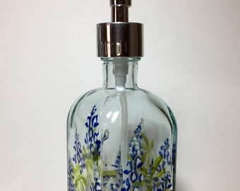 Texas Bluebonnets Soap dispenser Hand Painted recycled glass
