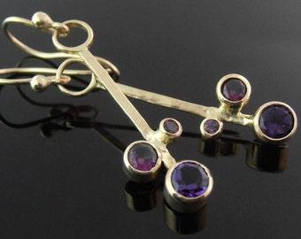 Amethyst, Grape Garnet, Rhodolite and 14k Gold Earrings, Gold Stick Earrings, Purple Gemstone Earrings