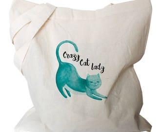 Canvas Tote Bag - Cat Tote Bags - Tote Bag Canvas - Cat Shopping Bag - Crazy Cat Lady Gift - Cat Gift - Cat Totes