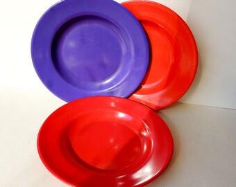 Deep Plates Red Purple 24 cm Plastic Picnic Camping